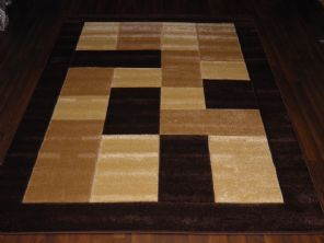 BLOCKS RANGE WOVEN RUGS HAND CARVED APROX 6X4FT 120X170CM BROWN/BEIGE GREAT RUGS